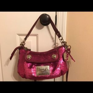 Hot pink sequin Poppy Coach purse